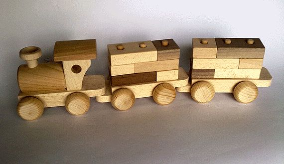 Wooden Train with building blocks by PolishFolkArtShop on Etsy, £14.00