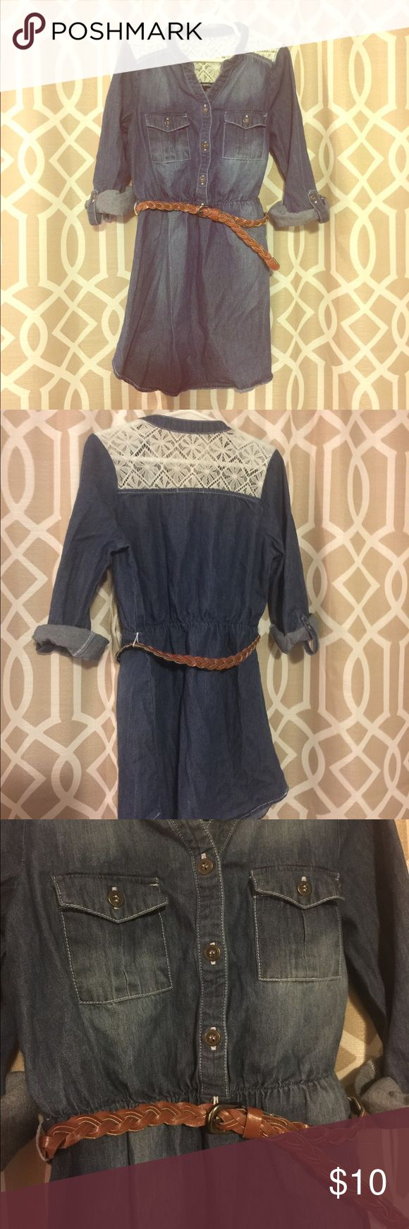 🐎Girls Jean Shirt dress🎀 Super cool Jean and lace shirt dress. Worn once. Braided faux leather belt, button roll-up sleeves. Cute with cow girl boots! Great spring dress!! Sequin Hearts Dresses Casual