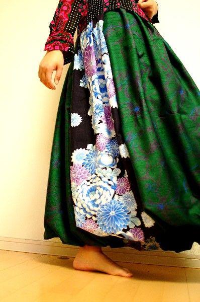 浴衣反物菊柄とシャンタン合わせ2WAYバルーンスカート- 手作り和柄 「神の手」