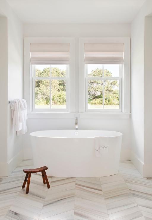 Gray And White Marble Herringbone Floor Tiles Freestanding Bathtubwhite Bathroomcream