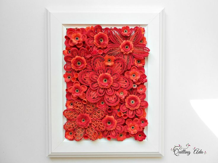 Quilling red flowers