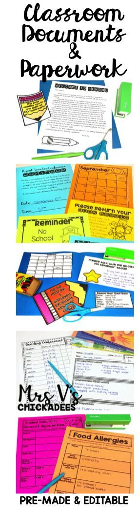 Classroom Forms, Documents and Paperwork in Pre-Made and Editable Form! Perfect for classroom organization and parent communication. Some of the forms include parent-teacher conference slips, reminder slips, welcome letters, scholastic sheets, homework sheets, rainbow chart, book baggie letter, reading and writing conferences, newsletter templates and more!