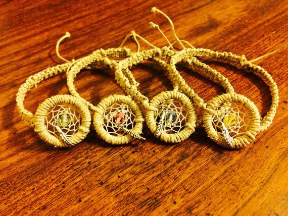 Dream Catcher Bracelets with Silver Feathers and by KnotTreasures