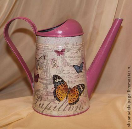 """Лейка """"Коллекция бабочек"""" - розовый,лейка,лейка для полива цветов,Декупаж"""