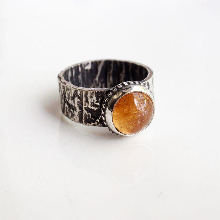 """Кольцо """"Дикий мед"""". Топаз империал, серебро. - оранжевый, кольцо с топазом, топаз"""