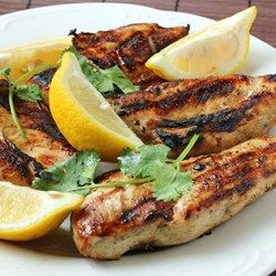 Greek Style Garlic Chicken Breast Allrecipes.com made 3/27/15 and it was so super yummy! GW ate 3rds! I pounded the breasts and grilled 10-11 min. The oil from the marinade made big flames but didn't taste charred.