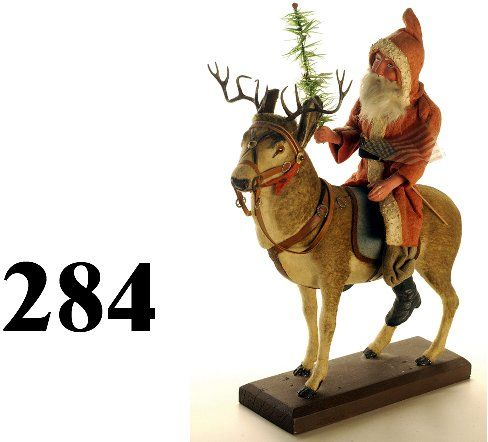 284: Santa Riding Raindeer Candy Container : Lot 284