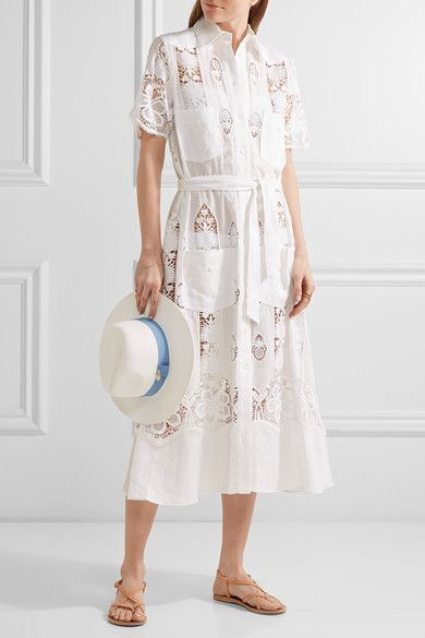 Miguelina | Berly broderie anglaise cotton and linen midi dress | NET-A-PORTER.COM