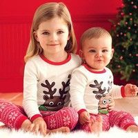 Wish   Children's Sets Baby Kid Girl Boys Christmas Suits Xmas Santas Clothes Jumpsuits + Hat Cosplay Outfit