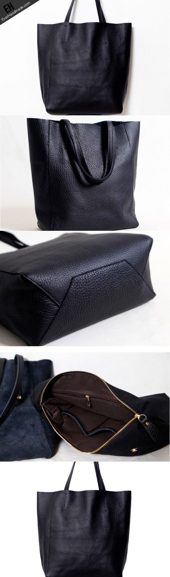 Handmade Leather black tote bag for women leather shoulder bag