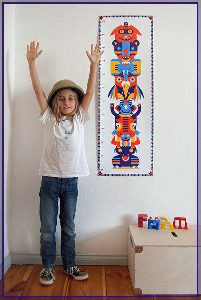 Messlatte für Kinder -Kindermesslatte - Kinderzimmer Deko - Tier Totem - Förn mit Petit Mouton Création