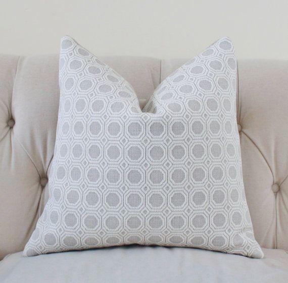 Light Gray Decorative Pillow : Light Gray and Off White Pillow - Silver Grey Woven Geometric Diamond Pillow Cover - Tom Filicia ...
