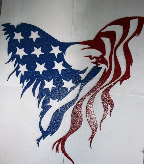Patriotic Flag Star USA Freedom Rustic DIY Signage Art American Eagle Stencil