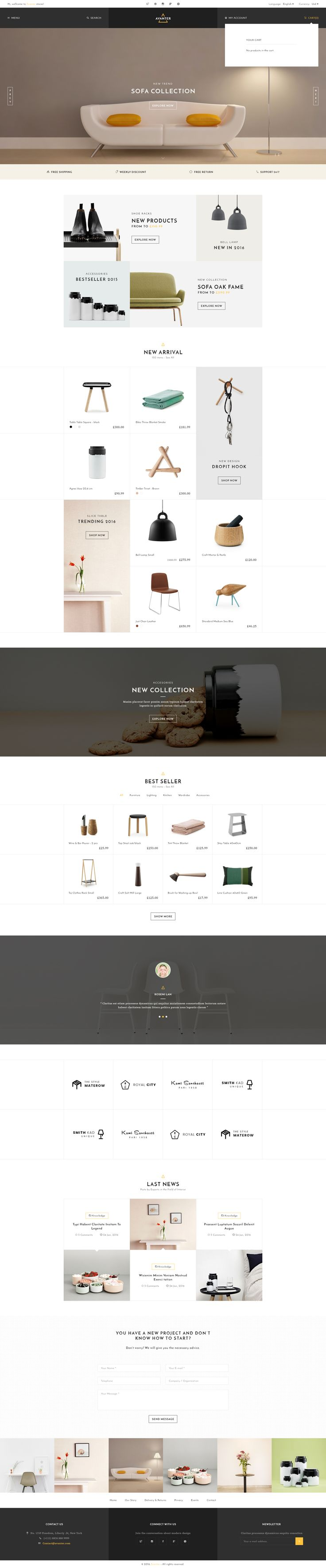 furniture design styles. avanter funiture store psd template app designdesign stylesweb furniture design styles s