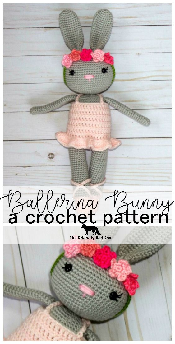 Ballerina Bunny Crochet Pattern - The Friendly Red Fox. This pattern comes with the bunny, dress, flower crown and slippers, as well as a tutorial to attach the head without sewing!