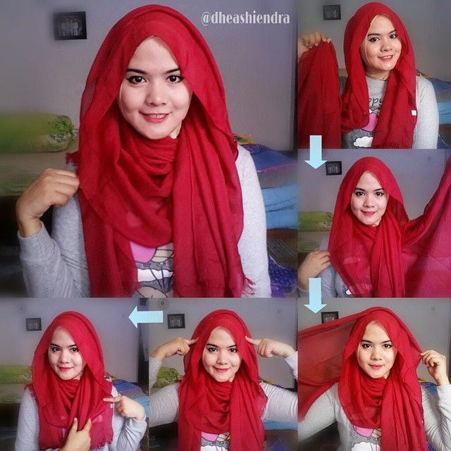 Red Gorgeous Full Coverage Hijab Tutorial
