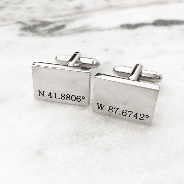 Coordinates Cuff Links. This customer requested the coordinates to the United Center in Chicago 🏀 such a great Valentine's Day Gift!