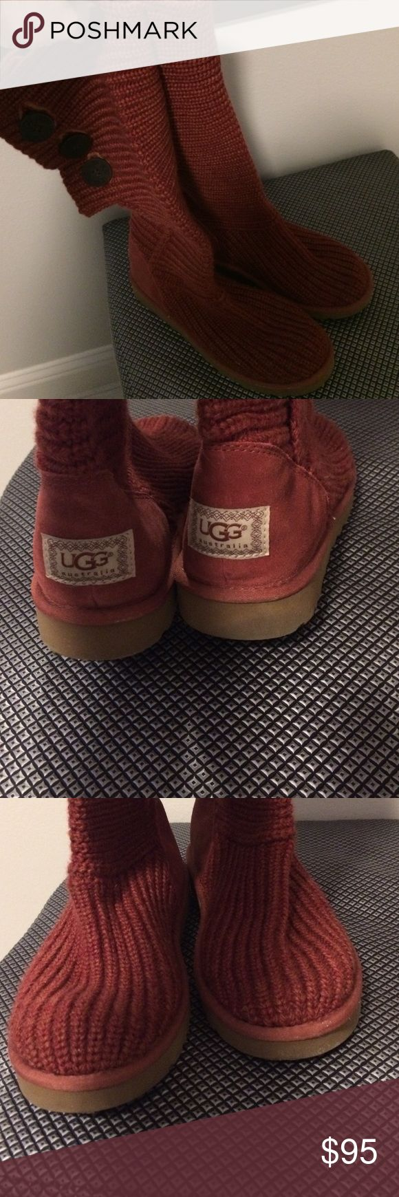 Plum knit over the knee Uggs Over the knee or cuff these plum knit, with suede heels and shearling foot bed Uggs. Worn once, in excellent, almost new condition uggs Shoes Winter & Rain Boots