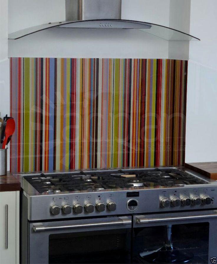 Striped Glass Splashback to fit any size Hob, Range Cooker Cooker or Aga