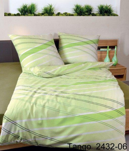 Janine Mako-Soft-Seersucker Bettwäsche TANGO 2432 in grün – ideal für den Sommer