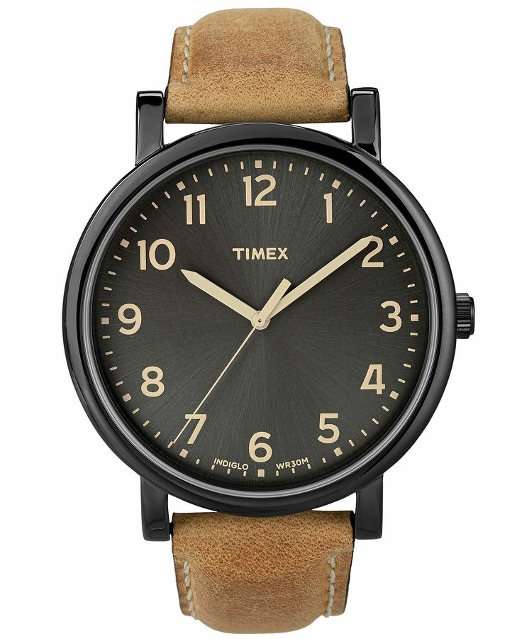 Timex Watch, Men's Premium Originals Classic Tan Leather Strap 42mm T2N677AB - Timex - Jewelry & Watches - Macy's