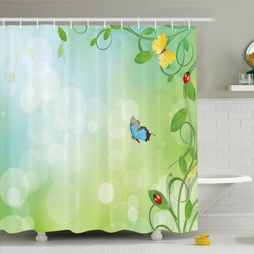 Ambesonne Butterfly Spring Flowers Sunny Shower Curtain Set