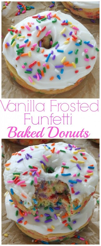 Vanilla Frosted Funfetti Donuts (Baked and Super Easy) - these soft and fluffy rainbow sprinkle donuts are ready in just 20 minutes! YUM.