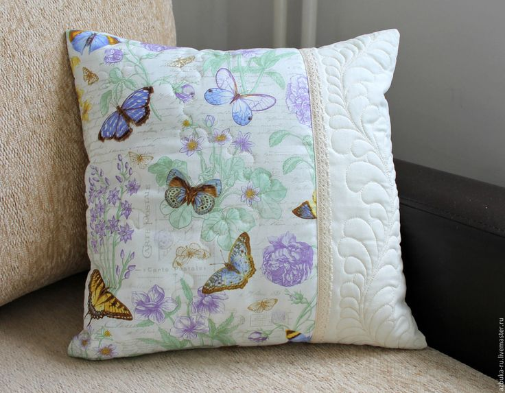 Купить Наволочка Шебби-Шик с бабочками. Лоскутная подушка. - наволочка на подушку, декоративная подушка