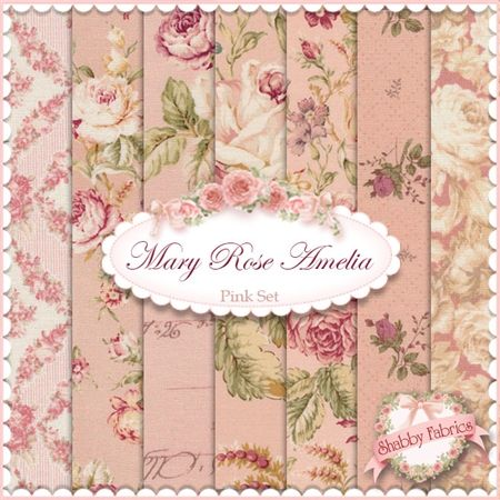 """Mary Rose Amelia  Pink 7 FQ Set By Quilt Gate Fabrics: Mary Rose Amelia is a collection by Quilt Gate Fabrics.  100% cotton.  This set contains 7 fat quarters, each measuring approximately 18"""" x 21""""."""