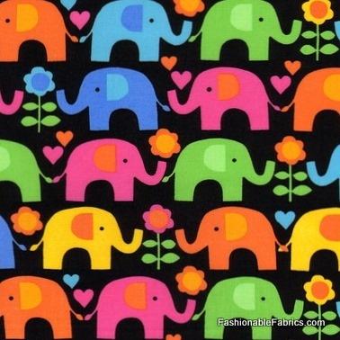 Elephants on Parade on black by Timeless Treasures: Black Backgrounds, Elephants, Bright Multi, Multi Colors, Treasure Fabrics, Black Fabrics, Flowers, Timeless Treasure, Multicolored