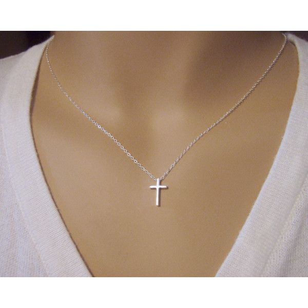Cross necklace Simple cross necklace Dainty cross pendant Sterling... ($23) ❤ liked on Polyvore featuring jewelry, necklaces, sterling silver cross necklace, sterling silver necklace, sterling silver cross jewelry, sterling silver jewelry and sterling silver crucifix necklace