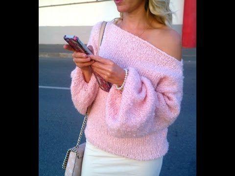 Как связать спицами просторный свитер с открытым плечом. Пряжа букле Гемма Италия. Бесплатный МК - YouTube