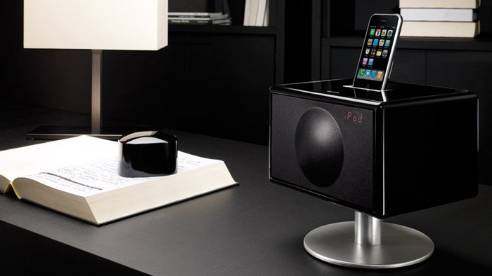 Geneva Sound System Model S  By Geneva Lab  The only thing small about this award-winning model is its size. Its innovations include new TouchLight controls, a new PowerDock connector for iPod/iPhone, and a digital clock radio.