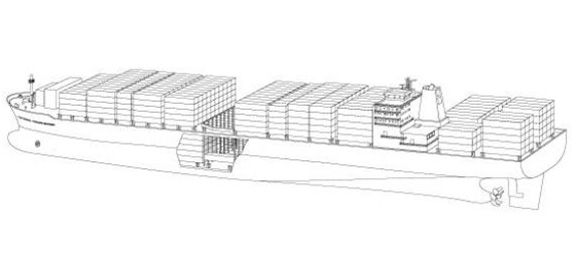 Container Vessels: A Container Vessel is designed to carry uniform-sized ocean freight containers of 20ft (6m) or 40ft (12m) length, 8ft width, and 8.5ft to 9.5ft height.     Distinguishing Features: Containers are loaded into tall slots that extend from three to six containers below deck to three to six containers above deck. The containers are then connected at the corners with locking devices.