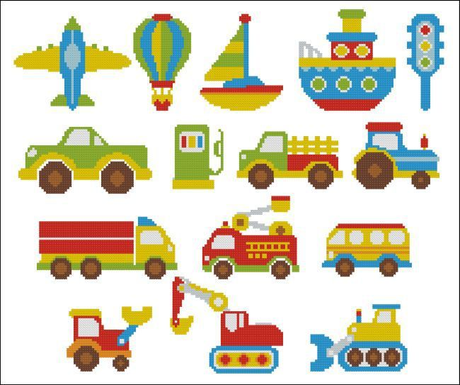 Bright Color Vehicles Mini Collection - PinoyStitch