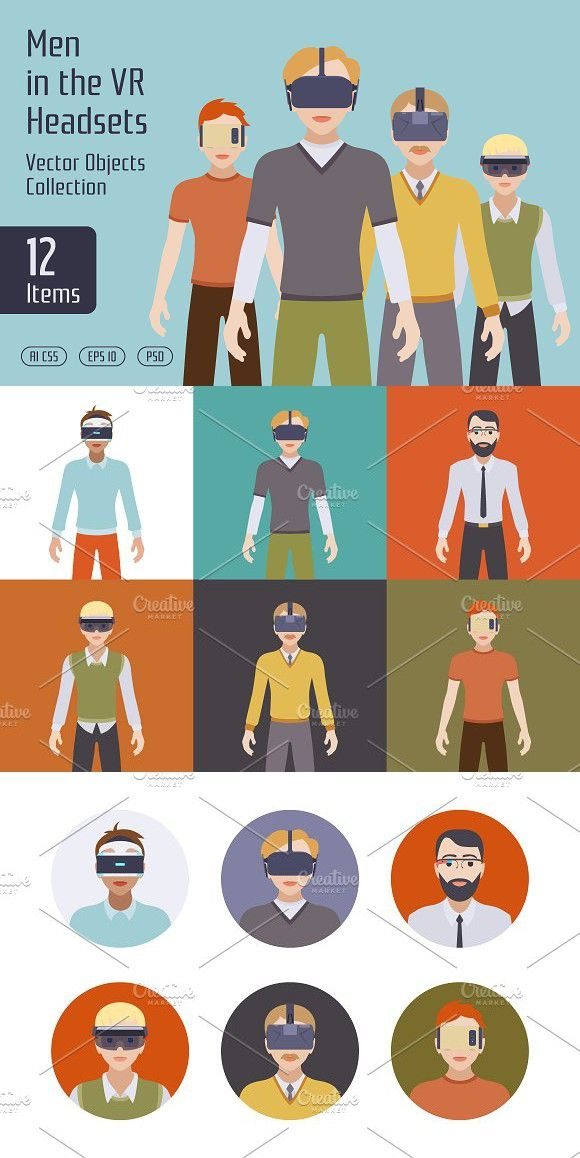 Men in the VR Headsets. Objects. $6.00