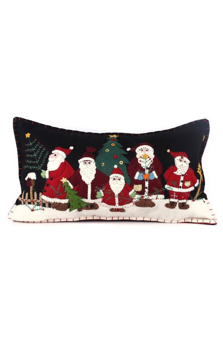 New World Arts Five Santas Accent Pillow
