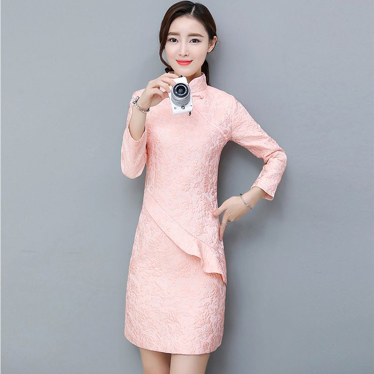 Pink Modern Cheongsam Dress Women Traditional Chinese Dress Qipao Collar Long Sleeve Qi Pao  Party Dresses Vestido Oriental