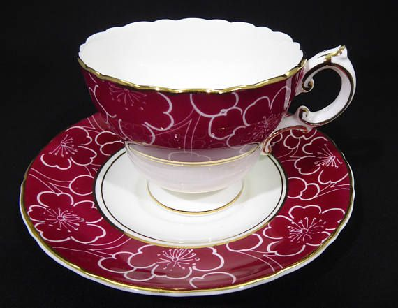 Vintage Cauldon Tea Cup and Saucer Set Burgundy Red with