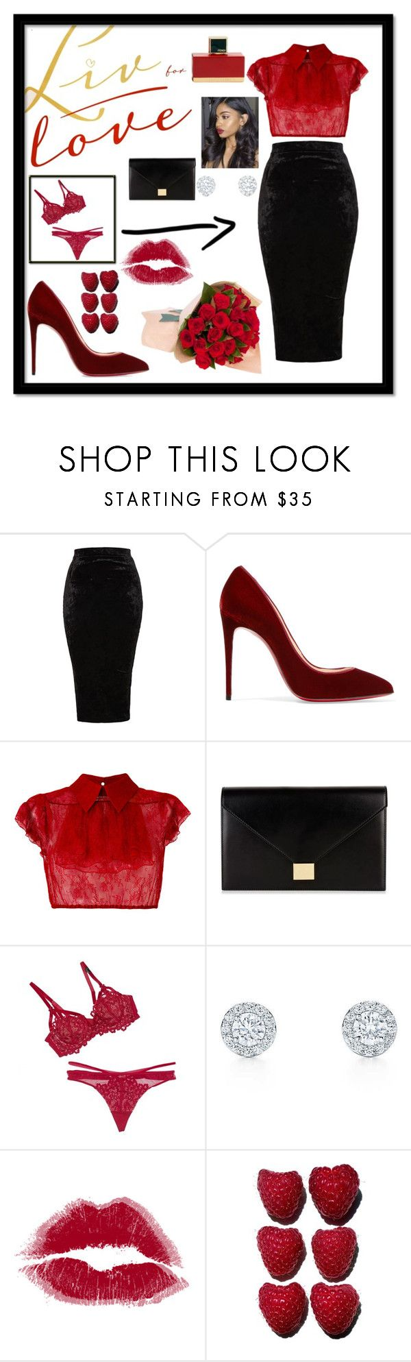 """Dinner Date on V-Day"" by eslajosy ❤ liked on Polyvore featuring TFNC, Christian Louboutin, N°21, Victoria Beckham, Dita Von Teese and Fendi"