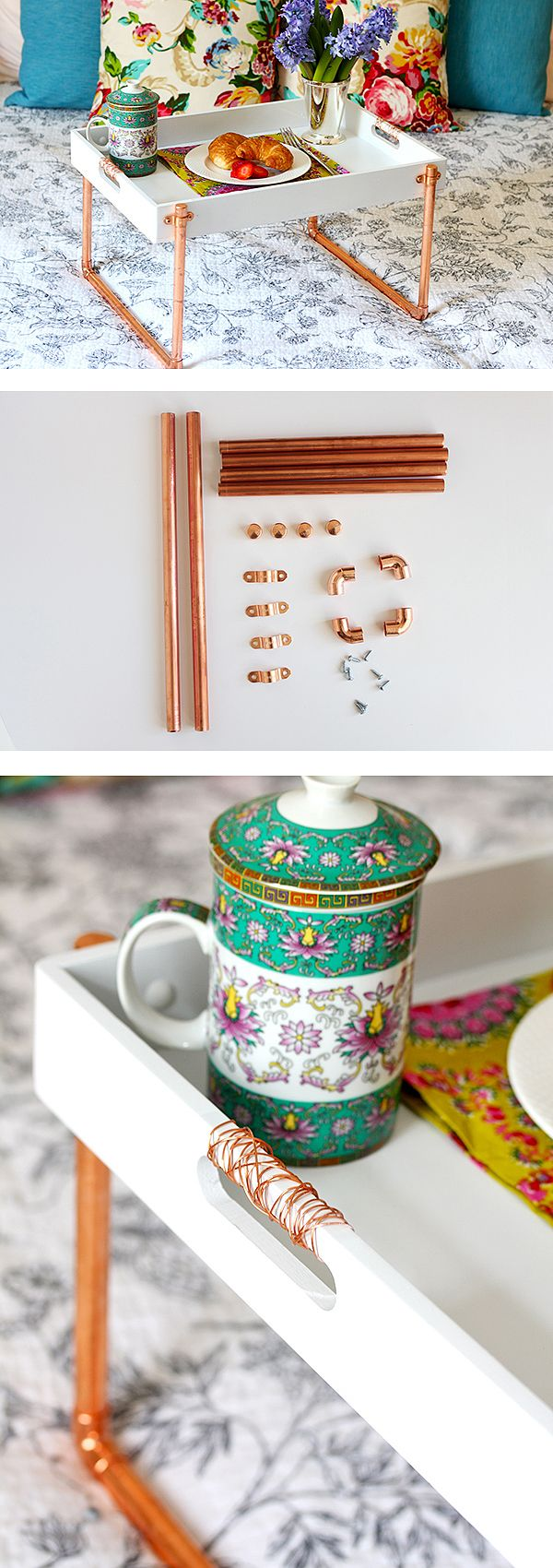 The copper pipe legs turned a simple wooden tray into a lovely and functional breakfast in bed tray in this pipe project by Amy Mikkelsen of Your Southern Peach. To make her tray even more glam, she added copper leaf to the pipe to make it extra shiny. Check out the tutorial on The Home Depot Blog.    @yoursouthpeach
