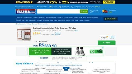 [Casas Bahia] Cozinha Compacta Itatiaia Anita Smart com 7 Portas Branco - de R$ 344,74 por R$ 260,91 (24% de desconto)