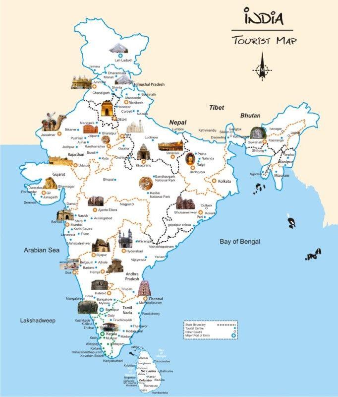 India Tourist Map #indiamap #indiamaplarge #indiatouristmap http://www.toursoftajmahal.com/blog/india-tourist-map/
