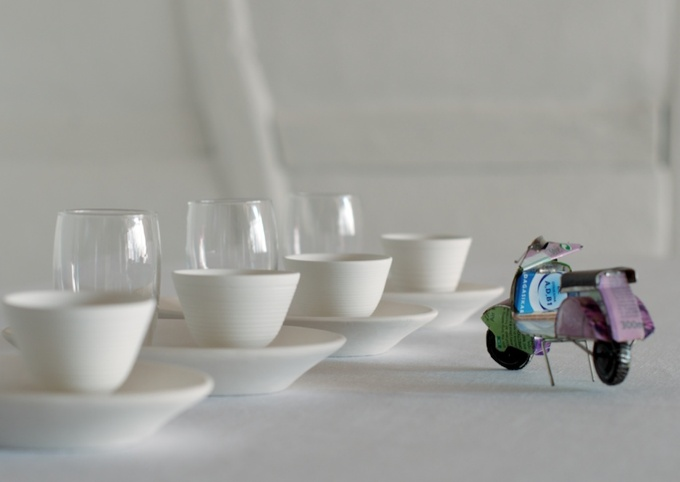 Espresso set with porcellain expresso cup, water glass and porcellain plate by helga ritsch ceramics in switzerland.