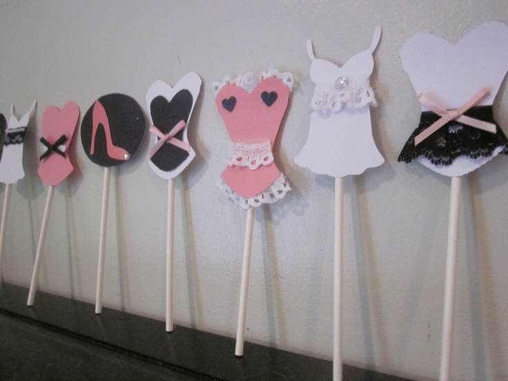 Bachelorette party cupcake toppers corset lingerie heart lips and high heel MIX and MATCH set of 12 black white pink colors. $15.00, via Etsy.