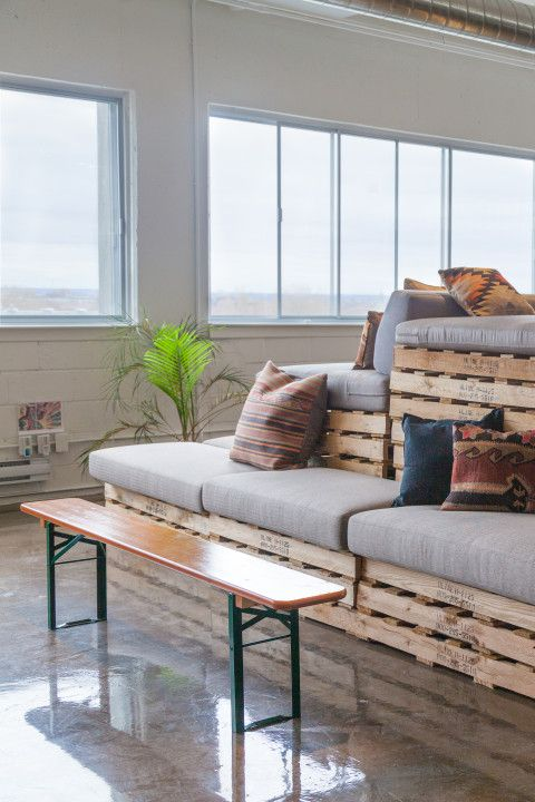 An elevated lounge area overlooks the Montreal skyline. Photo by Mary Elam.