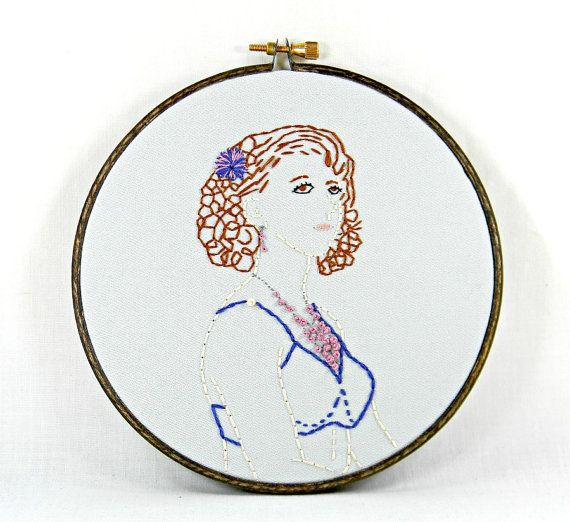 Victorian Burlesque Model Hand Embroidery Hoop by HeyPaulStudios, $52.00