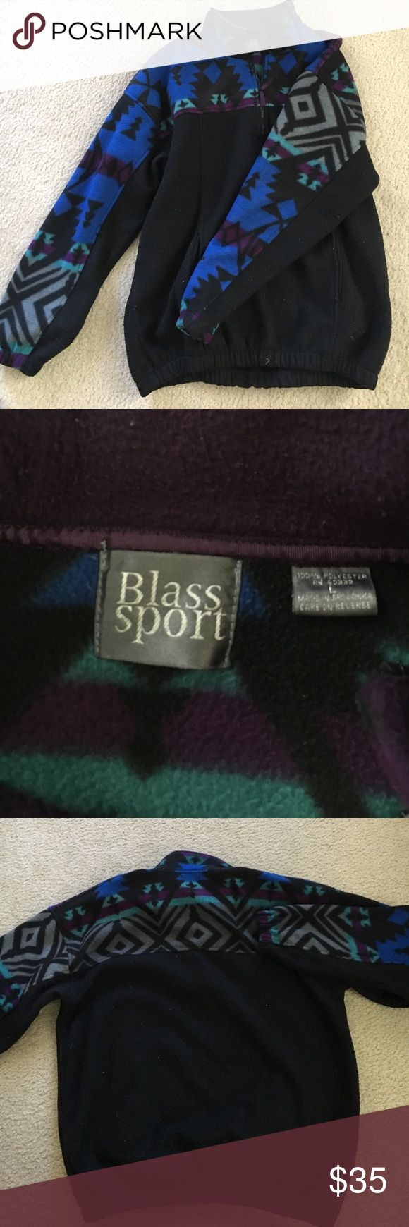 AZTEC PRINTED  SWEATER Colorful Aztec type printed quarter-zip sweater! Black base. Good condition! Green, purple, and blue colors are still very vibrant. Has 2 front pockets. Blass Sport Sweaters Zip Up