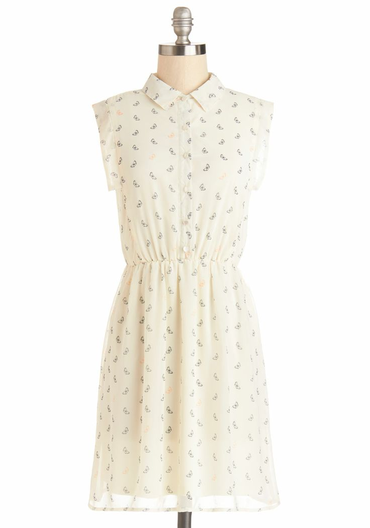 Butterfly Away for the Weekend Dress. Youre excited to be on vacay at your BFFs home across the country. #cream #modcloth