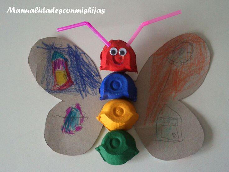 Manualidades con mis hijas: Cangrejo y mariposa con cartón de huevos y pajitas